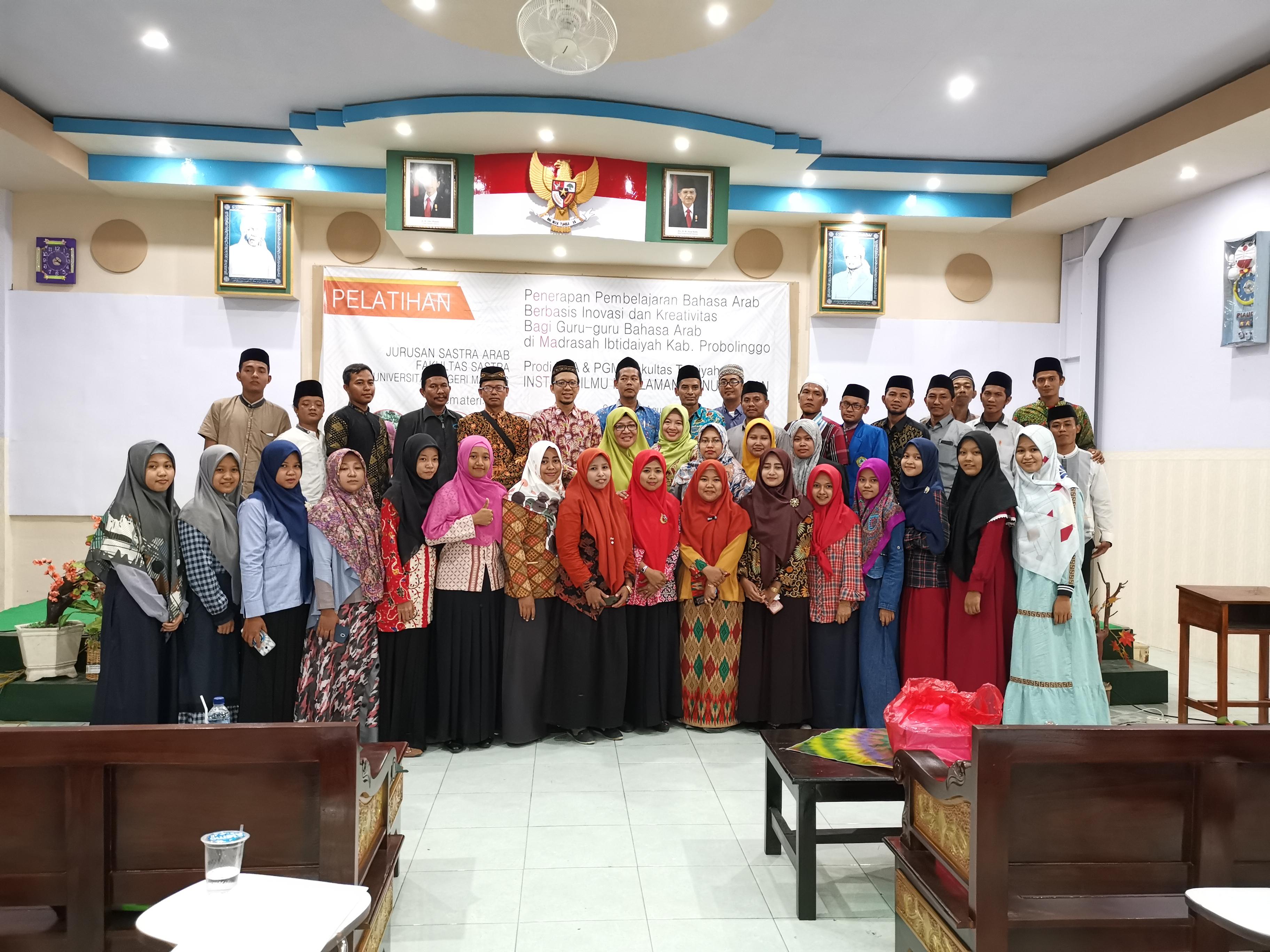Pelatihan Penerapan Pembejaran Bahasa Arab berbasis inovasi dan kreativitas bagi guru2 bhs Arab di MI Kabupaten Probolinggo